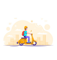 young man on scooter flat style vector image