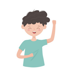Young man waving hand character isolated icon vector