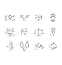 zodiac symbol thin line design style icons set vector image