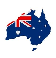 Australian flag on map vector image vector image