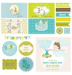Baby Shower Stork Theme Set vector image vector image