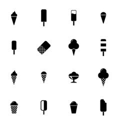 black ice cream icons set vector image vector image