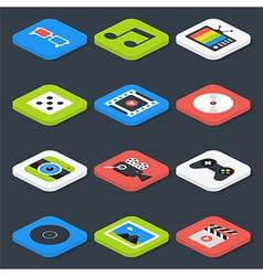 Flat Multimedia Video Audio Isometric Icons Set vector image