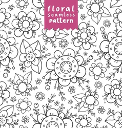 Flowers doodle pattern vector image vector image
