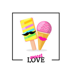 ice cream couple with lips mustaches love card vector image vector image