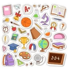 School icons stickers vector image