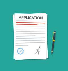 application or document with a seal and a vector image vector image