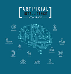 Brain artificial intelligence icon pack vector