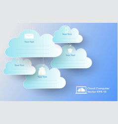 cloud computer with paper art style vector image
