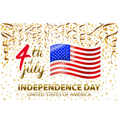 gold glitter independence day usa greeting card vector image vector image