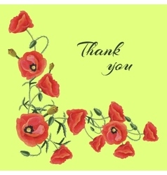 Greeting card with Poppies vector image vector image