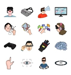 Virtual reality set icons in cartoon style Big vector image vector image