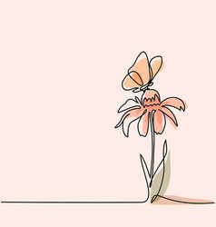 drawing of beautiful flower with butterfly vector image