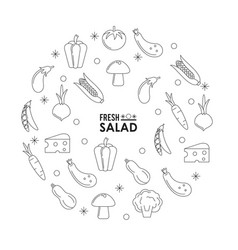 monochrome silhouette poster of fresh salad with vector image vector image