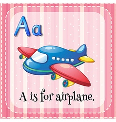 Flashcard alphabet A is for airplane vector image vector image