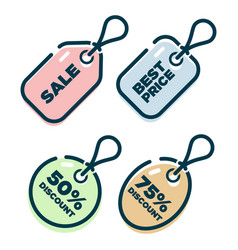 price tag shopping icons vector image vector image