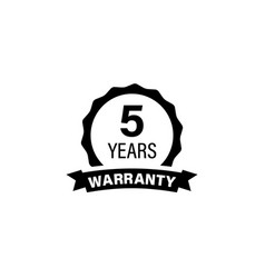 5 years and lifetime warranty label icon vector