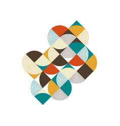 Abstract geometric retro vintage isometric vector