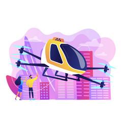 Aerial taxi service concept vector
