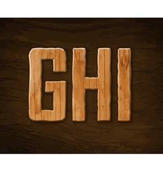 Alphabet made of wood vector
