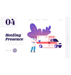Ambulance medical staff service landing page vector