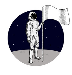 astronaut standing on the planet with flag vector image