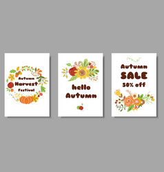 autumn set cards autumn sale harvest market design vector image