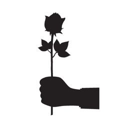 Black silhouette of a hand with a flower vector image