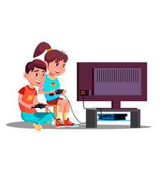 Boy and girl playing video games together vector