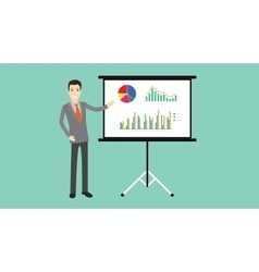 businessman presentation with board graph and vector image