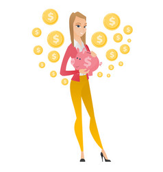 caucasian business woman holding a piggy bank vector image