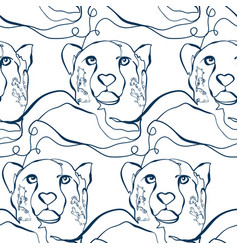 cheetah animal art line modern seamless pattern vector image