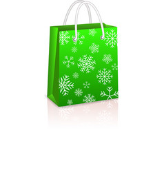 Christmas Creen Shopping Bag vector image