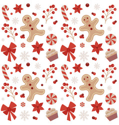 Christmas seamless pattern with gingerbread man vector