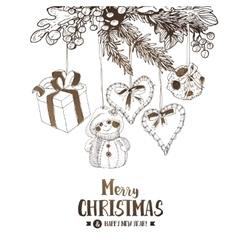 Christmas sketch card vector image