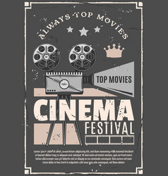 cinema movie festival retro camera poster vector image