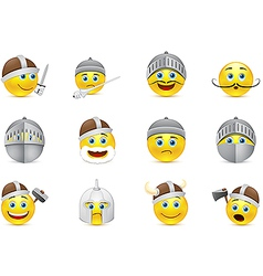 Collection of knights emoticons vector