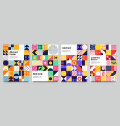 Colorful neo geometric poster grid with color vector