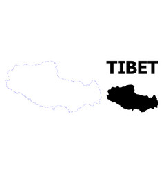 Contour dotted map tibet with name vector