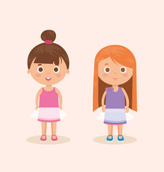 couple of little girls characters vector image