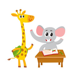 cute animal students - elephant at school desk vector image