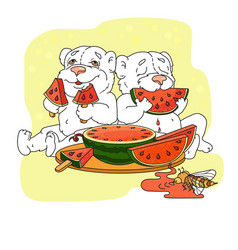 cute bears eating a slice of watermelon vector image