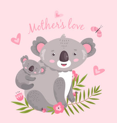 Cute koala animal mom hugging baaustralia vector