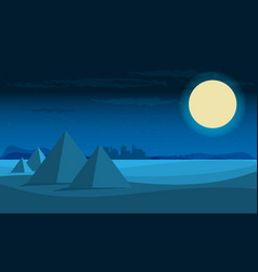 desert view egypt pyramids night flat vector image