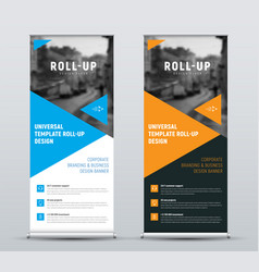 Design of roll-up banners with blue and orange vector