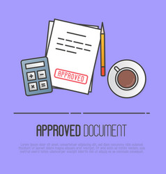 Document with red stamp approved vector