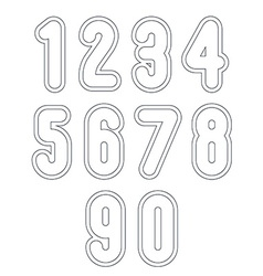 Double clear delicate line retro numbers set light vector