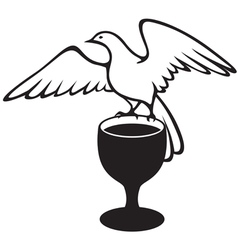 Dove whit cup vector
