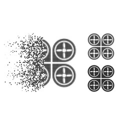 Dust dotted halftone quadrocopter icon vector