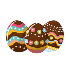 Easter eggs with nice decoration design vector